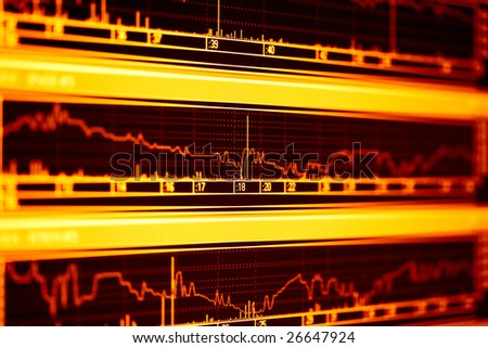 Stock market graphs on the computer lcd monitor. - stock photo