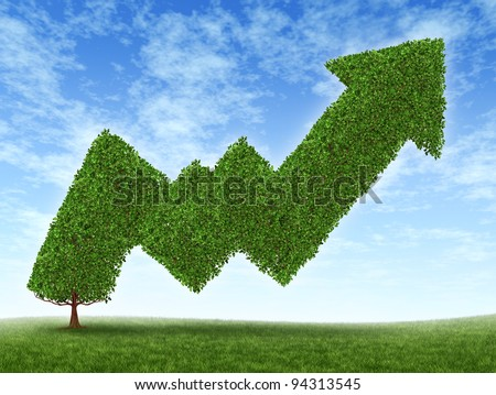 Stock market growth and success as a growing green tree in the shape of a stock investment graph as a potential value of equities in trading in uptrend financial business wealth reaching high goals. - stock photo