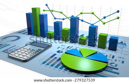 stock market illustration - stock photo