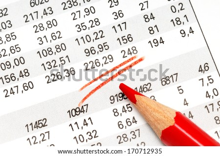 Stock market of a newspaper with crayon - stock photo