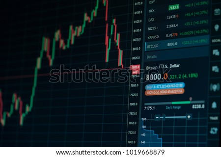 Stock market online downtrend chart of Bitcoin currency - investment, e-commerce, finance concept, fall of the Bitcoin