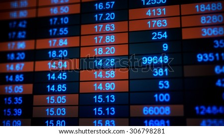 stock market quotes. Computer generated business illustration