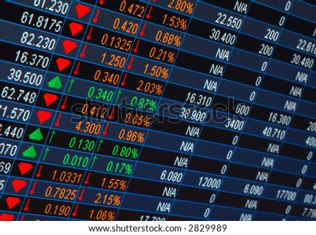 stock market quotes from a computer screen - stock photo