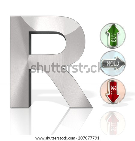 stock market South Africa Rand symbol with three analysis buttons 3d rendered and isolated on white background - stock photo