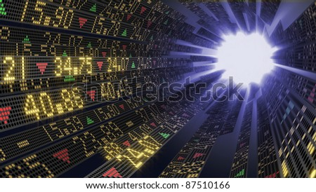 Stock market tickers on circular trading boards sliding toward a white light - stock photo