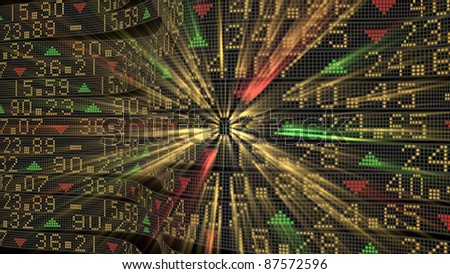 Stock market tickers sliding on trading boards with a central glow - stock photo