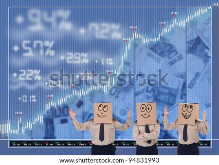 Stock market traders blinded by boxes cheering about their results - stock photo