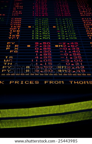Stock Market Trading Board with fake ticker symbols - stock photo