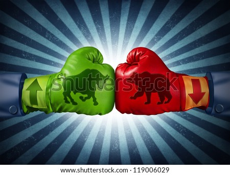 Stock market trading business concept with two boxing gloves with arrows going up and down with bull and bear icon stitched to the glove as investment and financial success with radial background. - stock photo