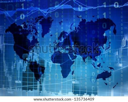 stock market world map - stock photo