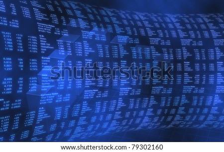 Stock Market World Markets on Blue Background - stock photo
