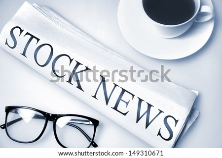 Stock News word on newspaper