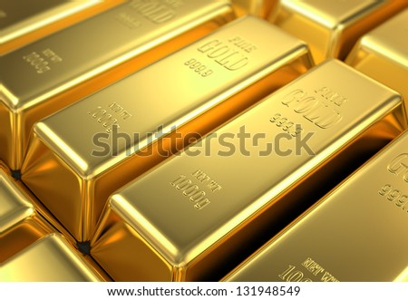 stock of gold, 3d image - stock photo