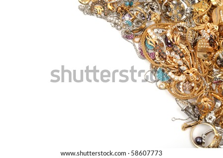 Stock of gold sets on white background - stock photo