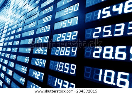 stock or currency exchange market display screen board - stock photo