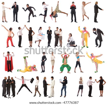 stock people concept with lots of different models and poses - stock photo
