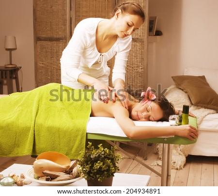 stock photo attractive lady getting spa treatment in salon - stock photo