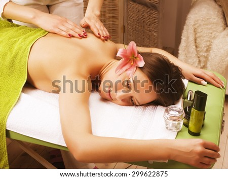 stock photo attractive lady getting spa treatment in salon - stock photo
