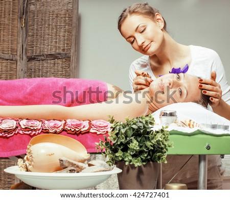 stock photo attractive lady getting spa treatment in salon, massage doctor smiling care pretty - stock photo