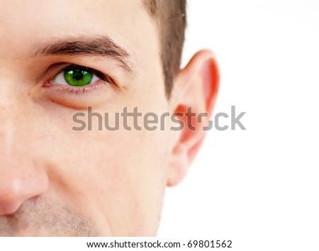 Stock Photo: Closeup of a beautiful green eye - stock photo