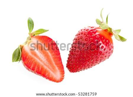 Stock Photo:  Cut and whole strawberry - stock photo
