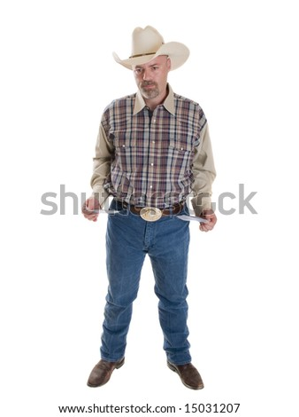 Stock photo of a poor cowboy isolated on white. - stock photo