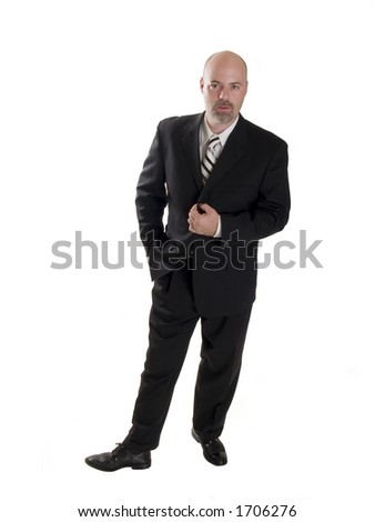 Stock photo of a stylishly dressed man in a business suit, isolated on a white background. - stock photo