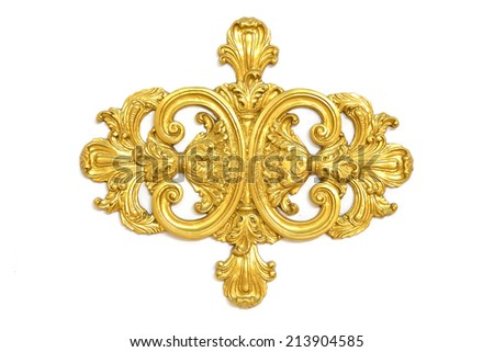 Stock Photo - of an ancient gold ornament on a white background - stock photo
