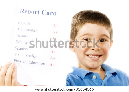 Stock photo of child holding report card, all a+, isolated on white - stock photo