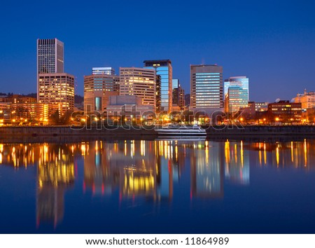 Stock photo of dawn on the Willamette River along Portland's waterfront. - stock photo