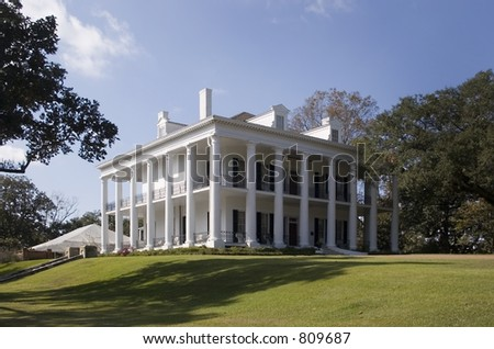 Stock photo of Natchez plantation home located on Mississippi River. An antebellum home - stock photo