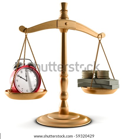 Stock Photo of Scales in equal balance holding a clock left on the and money on the right. - stock photo