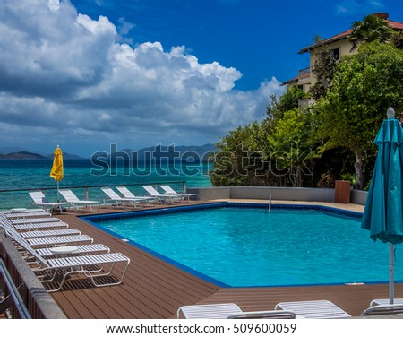 Stock photo of swimming pool at the tropical resort