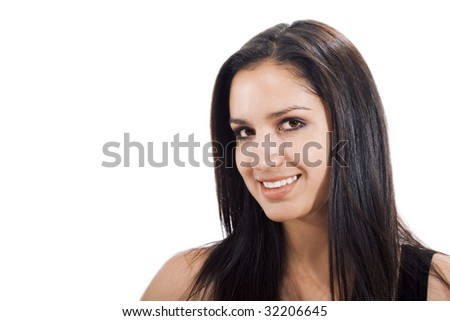 Stock photo of woman smiling at the camera, isolated on white - stock photo