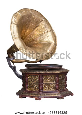 Stock photo old retro gramophone phonograph isolated on white. - stock photo