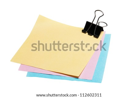 Stock Photo: post-it note paper with binder clip isolated on white background - stock photo