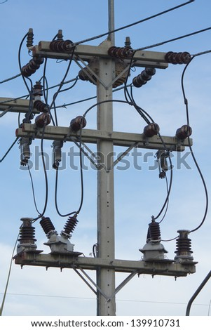 Stock Photo - Power transmission tower with cables - stock photo