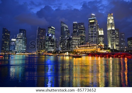 Stock Photo: Singapore skyline and river at blue hour - stock photo