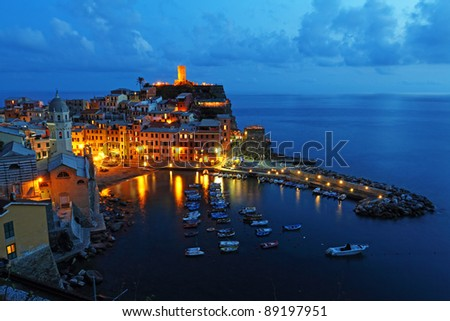 Stock Photo: Vernazza at night, Cinque Terre, Itlay - stock photo