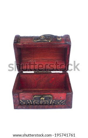 Stock Photo - vintage wooden chest over white