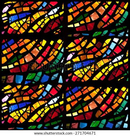 Stained Glass Window Pattern Bluegreen Tone Stock Photo