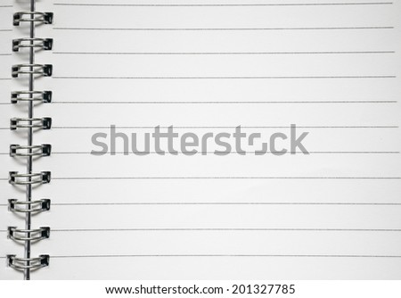 Stock Photo - white paper of notebook - stock photo