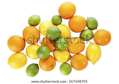 Stock picture of mixed citrus, lemon, orange, lime fruits on a white background - stock photo