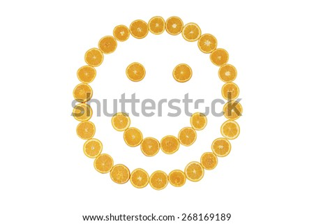 Stock picture of sliced orange, forming a smiley face, on a white background - stock photo