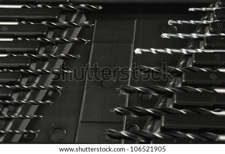stock pictures of a set of drill bits used to make holes - stock photo