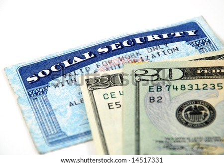 stock pictures of a social security card and money - stock photo