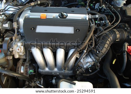 stock pictures of an engine inside of a car - stock photo