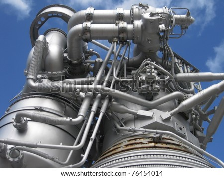 stock pictures of an industrial engine showing the pipes and valves - stock photo