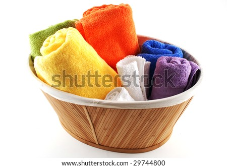 Stock pictures of bath towels and wash clothes - stock photo