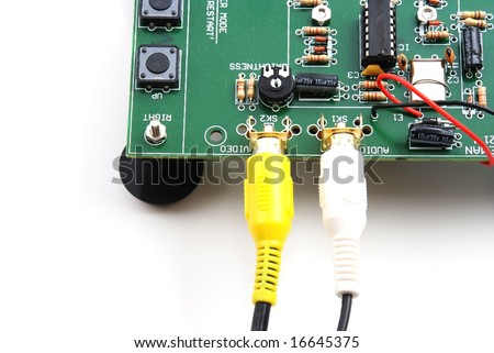 Stock pictures of boards and equipment using electronic components and connectors - stock photo